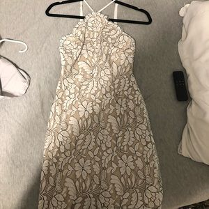 Short nude halter mini dress